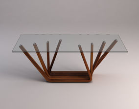 3D model DINING TABLE---Ramified pedestal and glass tray