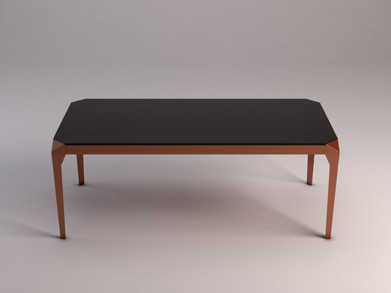 3d Model Dining Table Copper And Smoked Glass Cgtrader