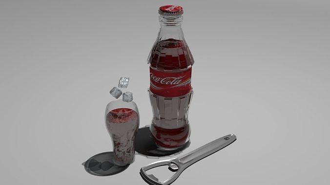 coca cola  3d model low-poly max obj mtl 3ds fbx 1