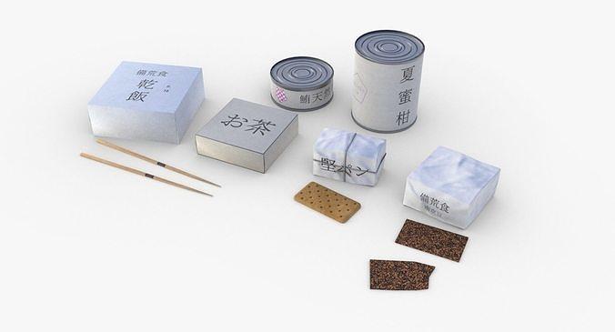 japanese combat rations wwii 3d model low-poly obj mtl 3ds fbx blend dae gltf glb 1