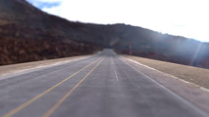 desert road low poly - complete scene 3d model obj mtl fbx ma mb mel 1