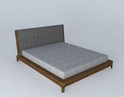 wood brown bed 3D
