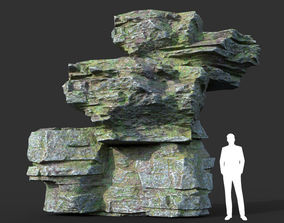 Low poly Mossy Layer Rock 10 3D asset