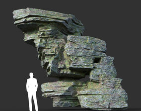 3D model Low poly Mossy Layer Rock 08