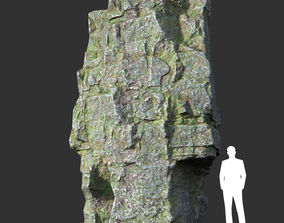 3D model Low poly Mossy Layer Rock 01