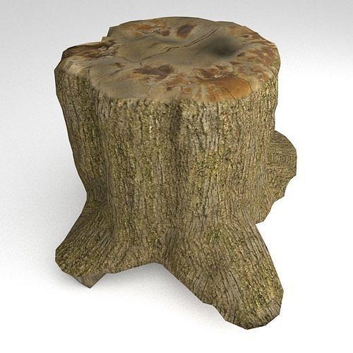 tree stump 2 3d model obj mtl 3ds fbx blend 1