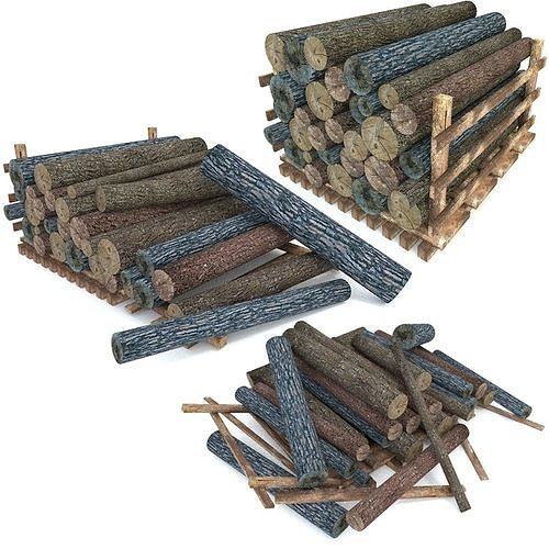 wood log pack low poly 3d model obj mtl 3ds fbx blend 1