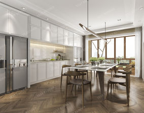 modern dining room near kitchen and living 3D