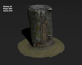 3D model Photoscanned stump 01