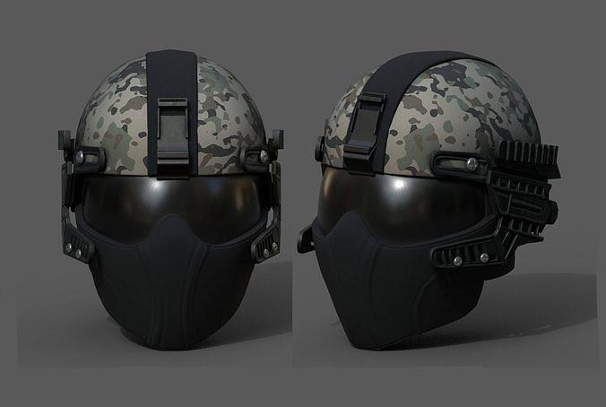 Helmet scifi military combat 3d model low poly fantasy