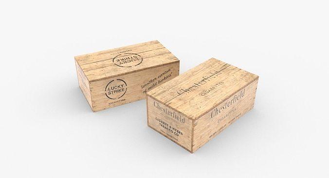 cigarettes wooden boxes wwii 3d model low-poly obj mtl fbx blend dae 1