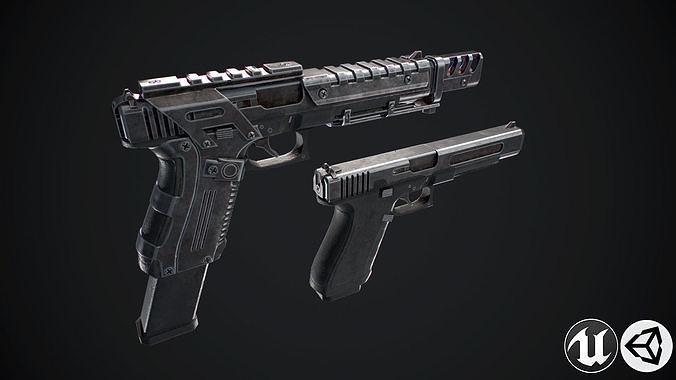 glock 3d model max obj mtl 3ds fbx ma mb tga 1