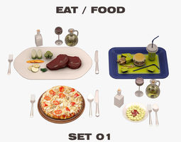 Eat Food Set 001 3D model