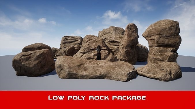 realistic big  brown rock pack v1 - low poly 3d model 3d model low-poly fbx 1