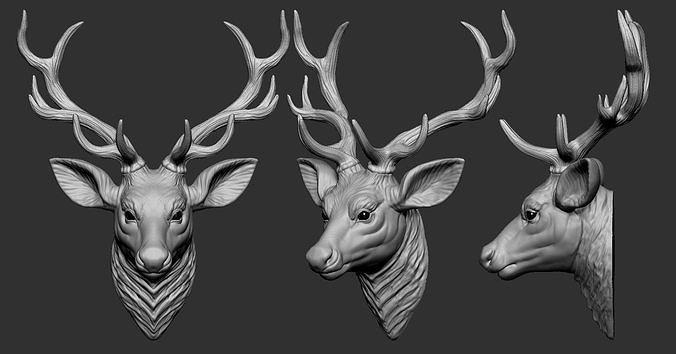 deer head 3d model obj mtl stl ztl 1