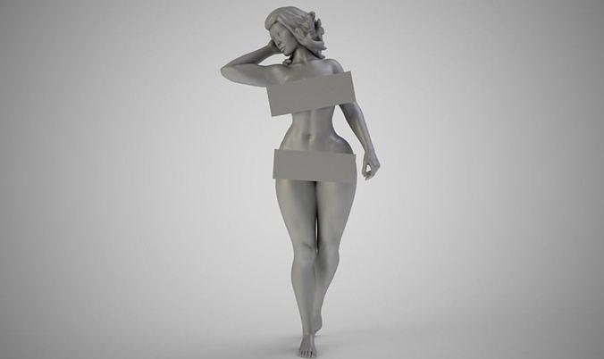 topless woman 3d model obj mtl stl 3mf 1