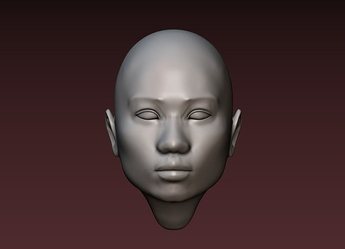 female head 2 asian woman 3d model obj mtl fbx stl blend 1