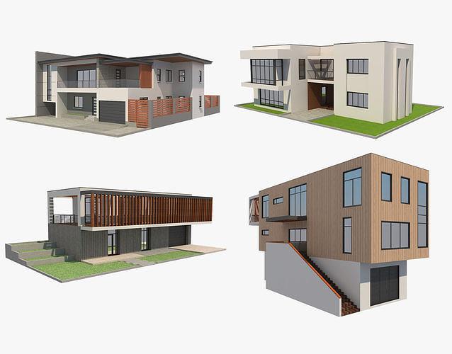 4 modern houses set 2 3d model max obj mtl 3ds fbx c4d ma mb 1