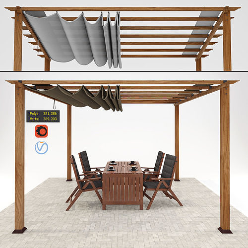 paragon florence pergola with table and chairs ikea applaro 3d model max obj mtl fbx 1