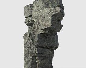 3D asset Low poly Beach Cliff Rock 02