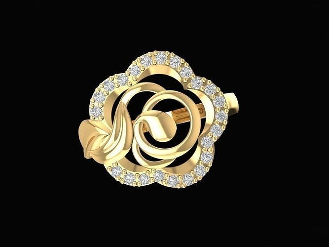 1480  diamond rose ring 3d model stl 3dm 1