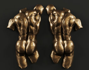 3D Toscano Male Nude Back Torso Wall Hanging Figure