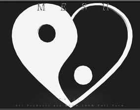 Ying yang symbol Heart 02 3D asset