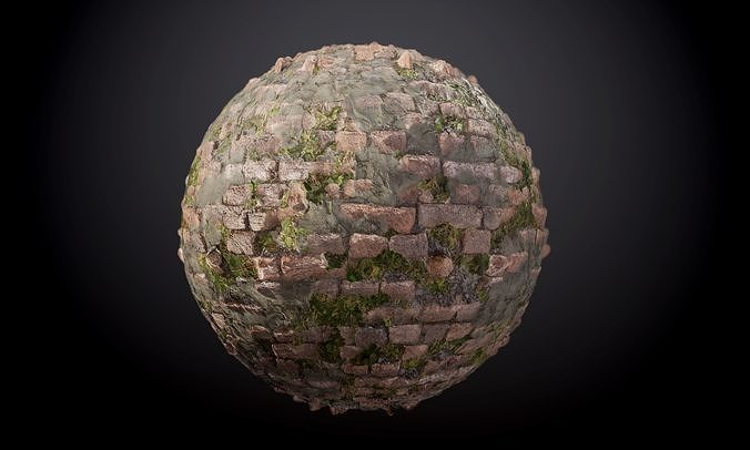 brick wall vines sloppy concrete seamless pbr texture 3d model obj mtl 1