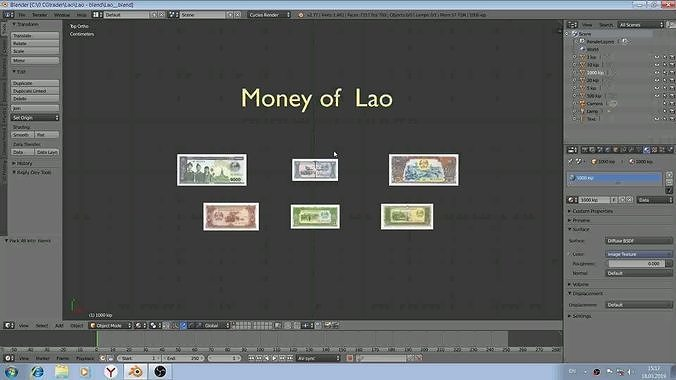 paper - money models of lao 3d model low-poly blend 1