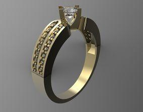 diamond ring 3D printable model silver