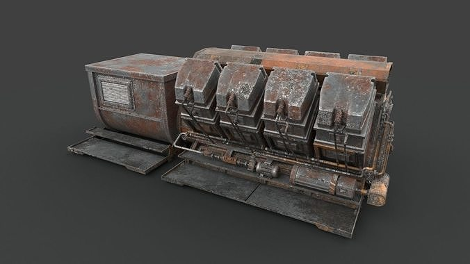 rusted machinery device 3d model max fbx 1