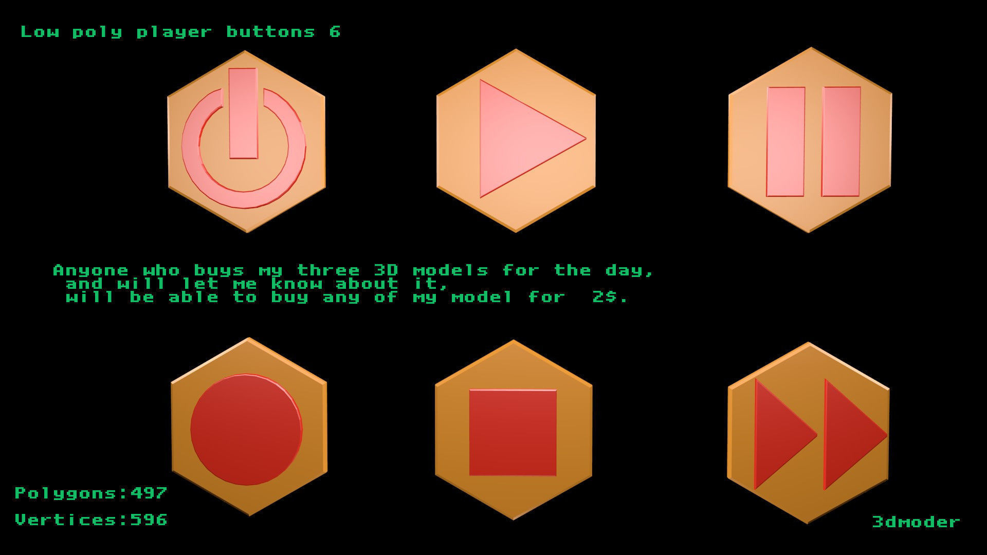 Low poly player buttons 6