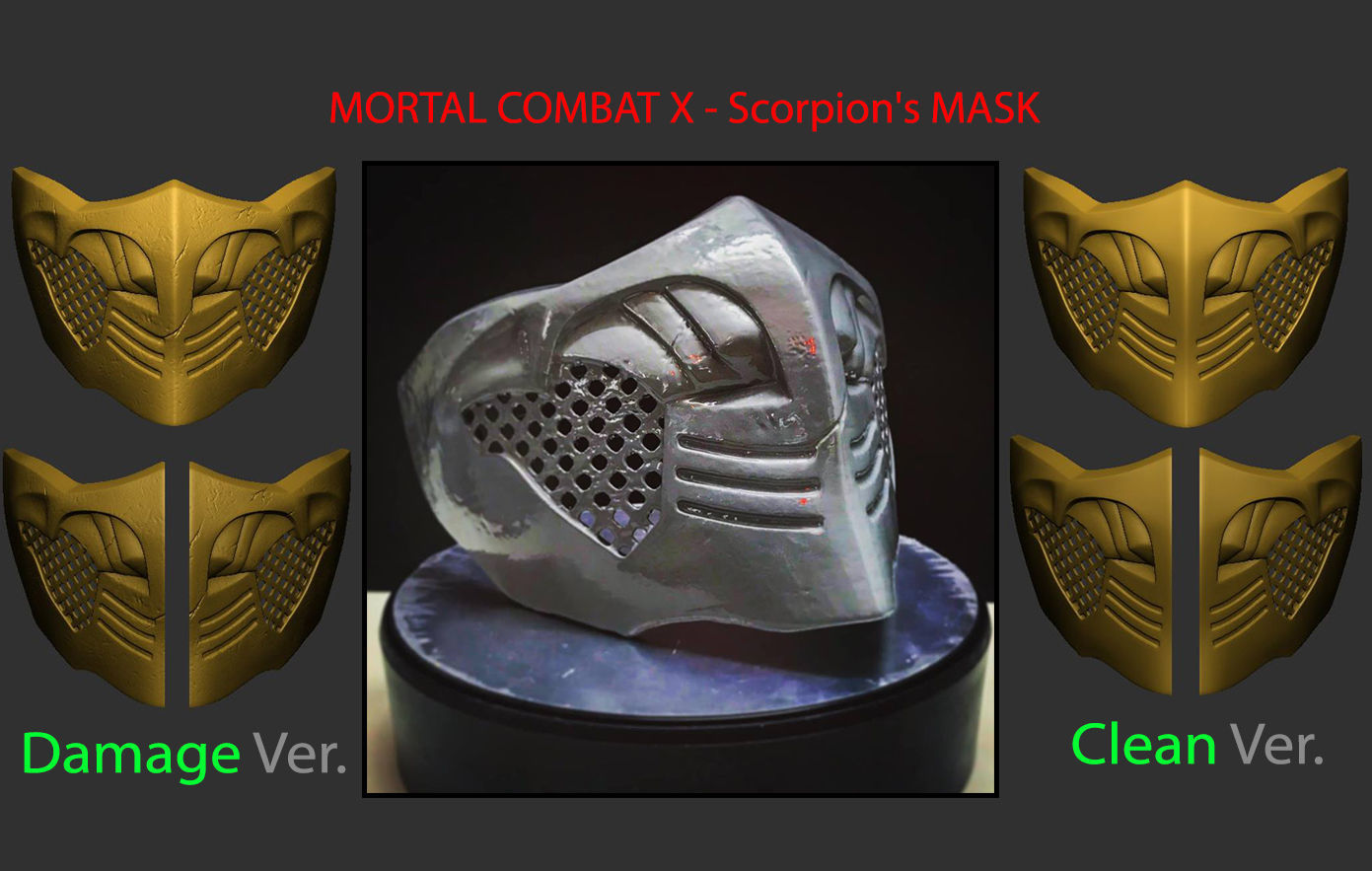 3d Print Model Mortal Kombat X Scorpion Mask For