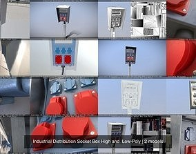 3D Industrial Distribution Socket Box High and Low-Poly