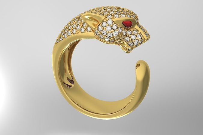 panther ring with diamond and ruby 3d model max obj mtl stl 3dm ztl bip 1