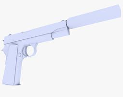 colt 45 m1911 pistol supressed game-ready 3d asset