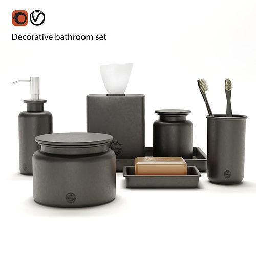 decorative bathroom set 3d model max fbx 1