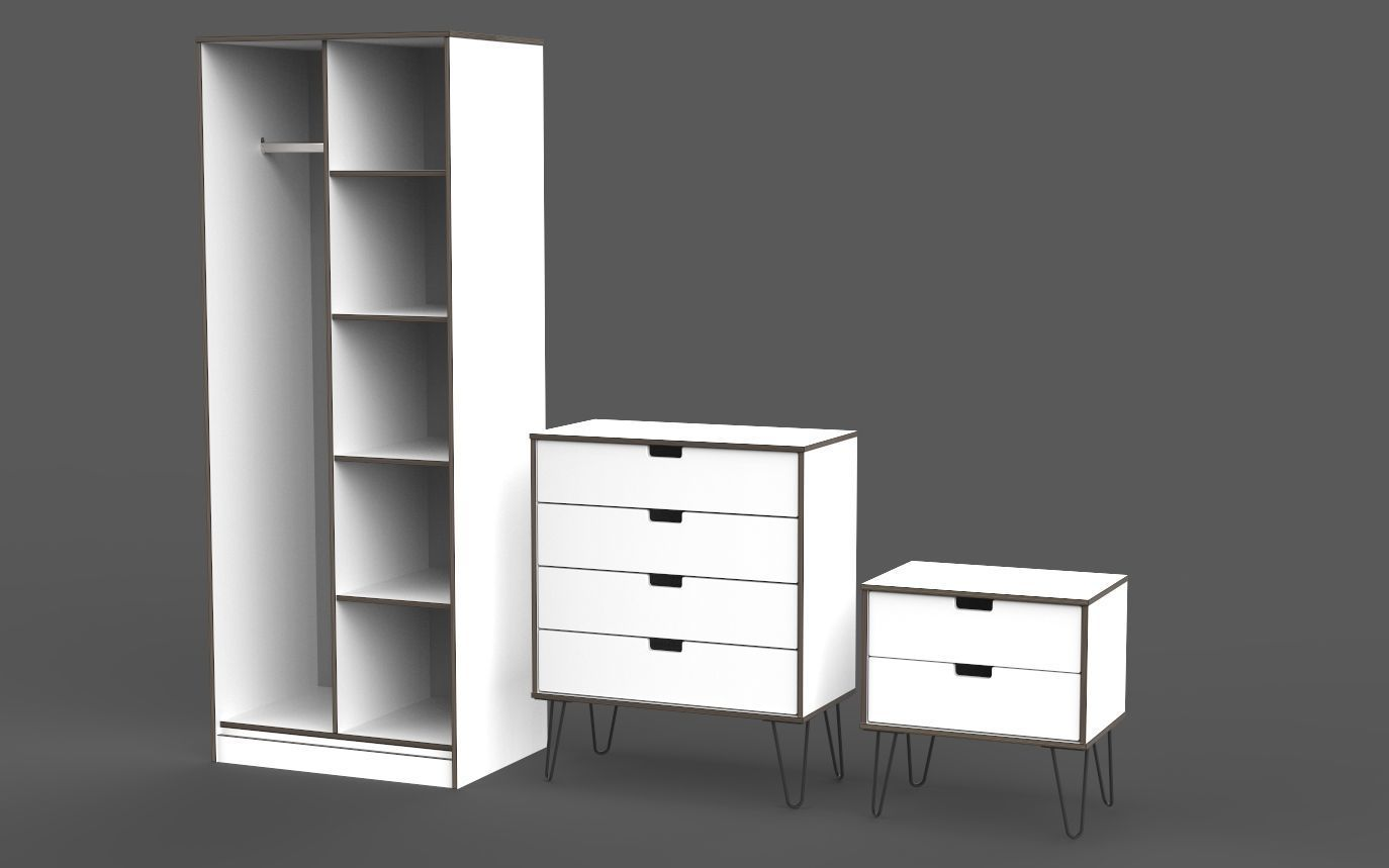 3d Bedroom Furniture Set Retro Modern Style Cgtrader
