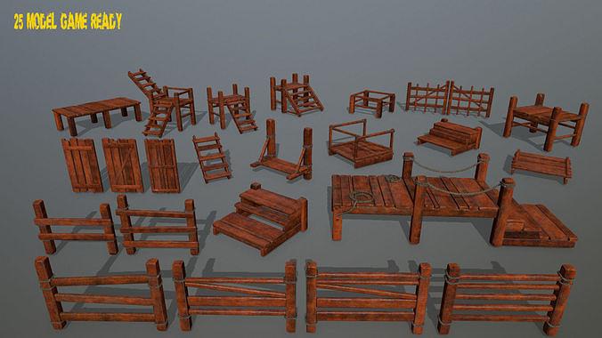 wood and rope 3d model obj mtl fbx blend 1