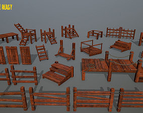 3D asset Wood and Rope