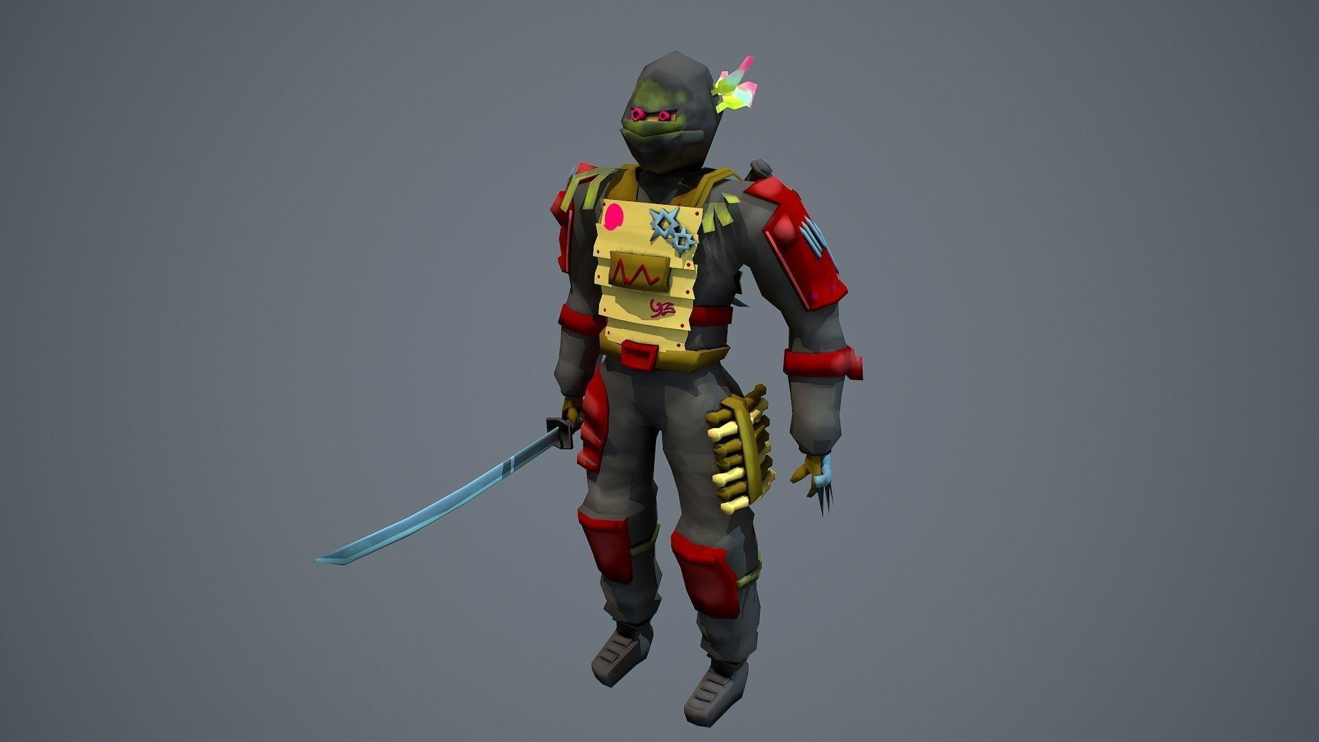 Low poly stylized fantasy ninja character model   3D model