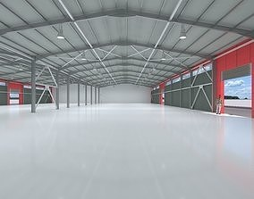 3D industrial hangar shed with detailed metal structure