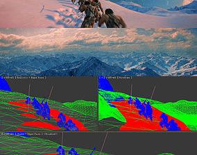 3DMAX model-primitive man climbing snow mountain animated