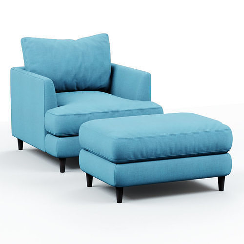 armchair and pouf blue cloth 3d model max obj mtl fbx c4d 1