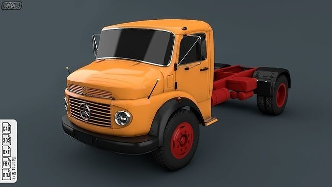 mercedes-benz truck 1924-2624 orange 3d model obj mtl 3ds fbx c4d dxf 1