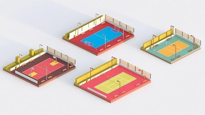 low poly sport courts 3d model obj mtl fbx stl blend 1