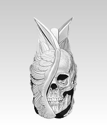detailed pendant man skull with wings 3d model obj mtl stl 1