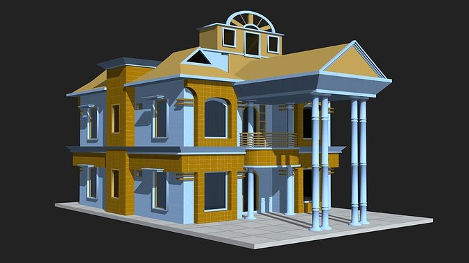 3d House Building 3d Model Low Poly ...