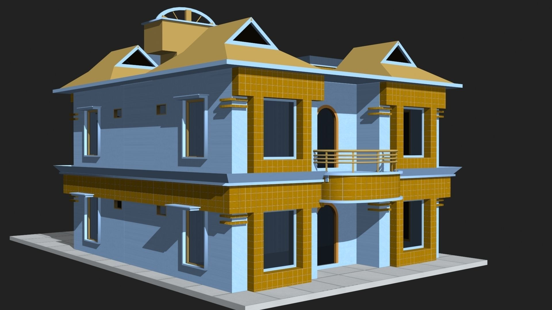 Awesome ... 3d House Building 3d Model Low Poly ...