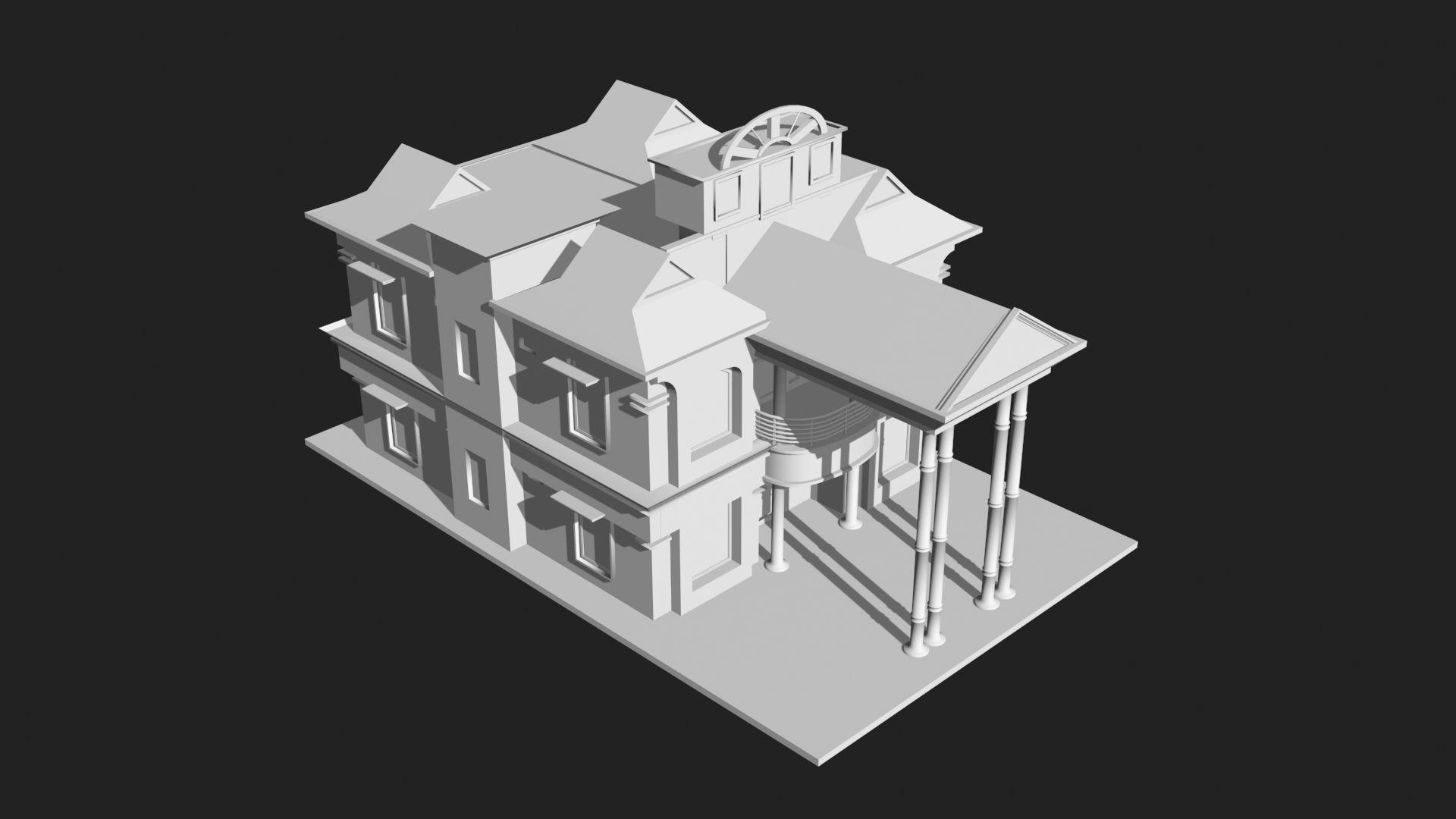 3d House Building 3d Model Low Poly 8